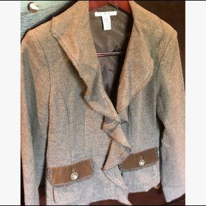 CAbi Kensington Wool Brown Ruffle Blazer Size 8